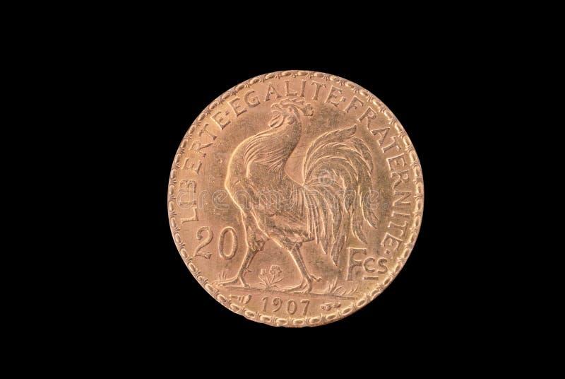 Moeda de ouro antiga francesa. 20 francos. 1907. Reverso fotos de stock royalty free