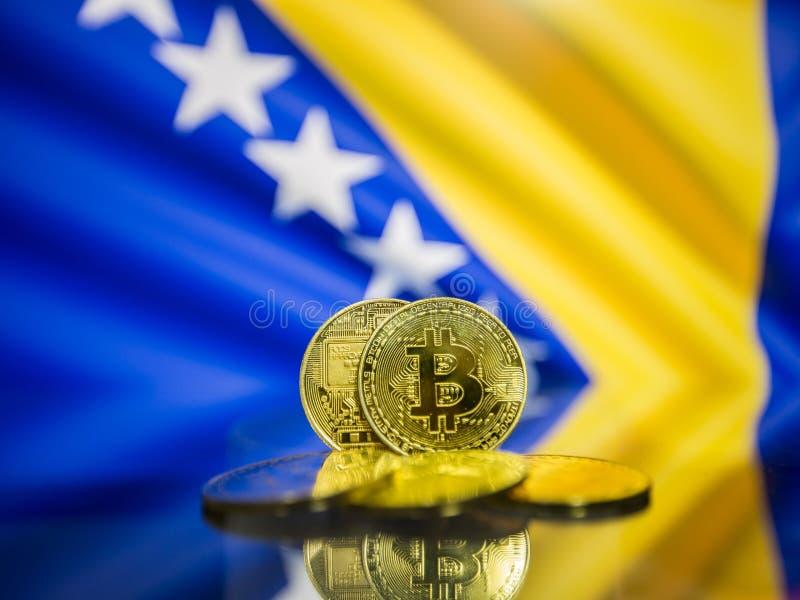 Moeda de ouro de Bitcoin e bandeira defocused do fundo de Bósnia e de Herzegovina imagens de stock royalty free