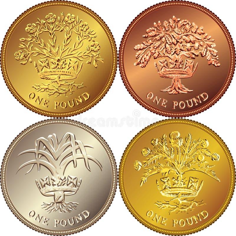 moeda de ouro britânica ajustada do dinheiro do vetor uma libra ilustração royalty free