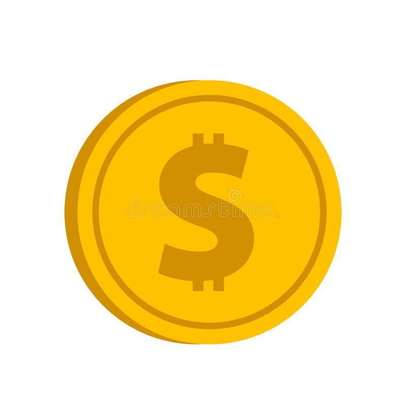 Moeda de ouro com ícone do sinal de dólar no estilo liso em um backgro branco ilustração do vetor