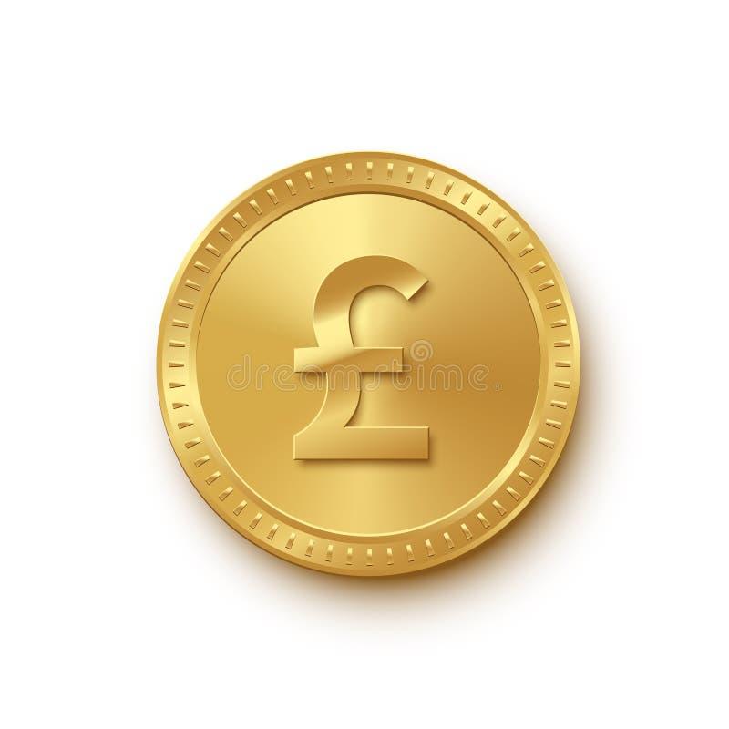 Moeda de ouro com ícone do sinal da libra no fundo branco Elemento do projeto da finança do vetor ilustração stock