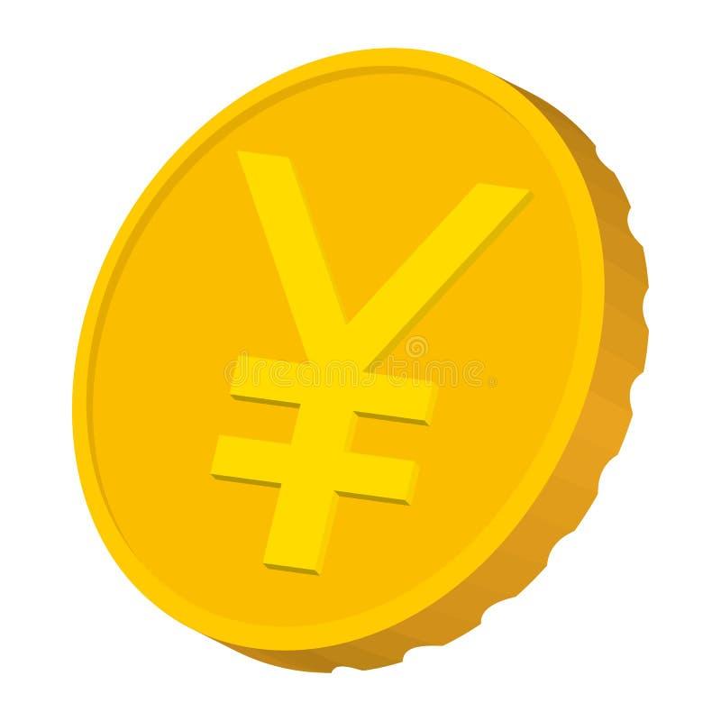Moeda de ouro com ícone do sinal de ienes, estilo dos desenhos animados ilustração stock