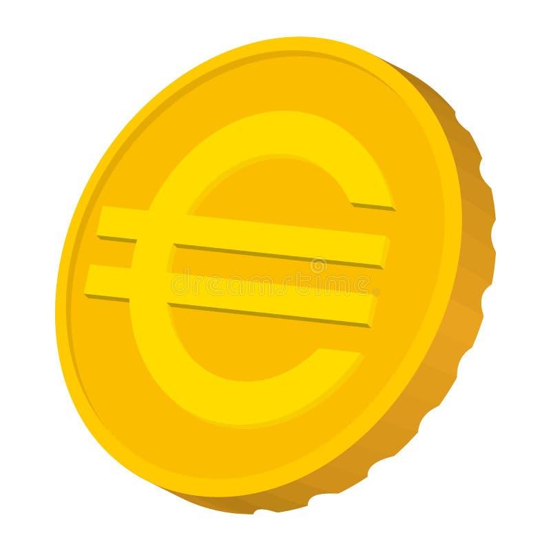 Moeda de ouro com ícone do sinal do Euro, estilo dos desenhos animados ilustração stock