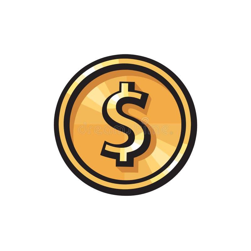 Moeda de ouro com ?cone do sinal de d?lar S?mbolo de moeda de USD Conceito do dinheiro Ilustra??o do vetor no fundo branco ilustração stock