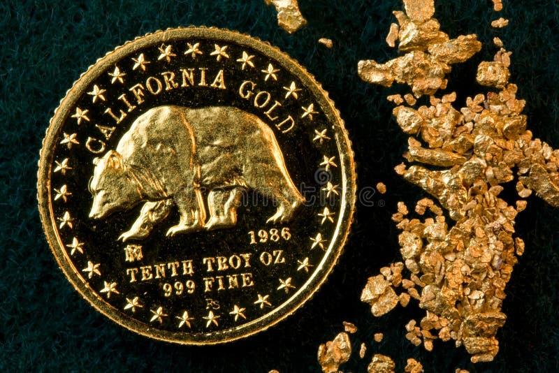 Moeda de ouro de Califórnia e pepitas de ouro foto de stock royalty free