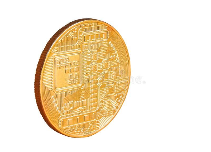 Moeda de ouro digital do cryptocurrency de Bitcoin imagens de stock