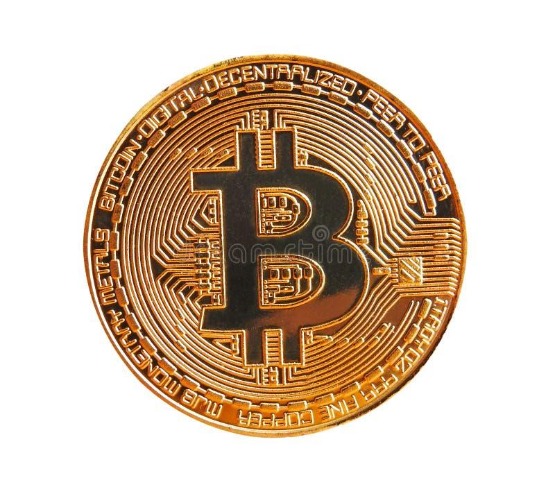 Moeda de ouro digital do cryptocurrency de Bitcoin fotografia de stock royalty free