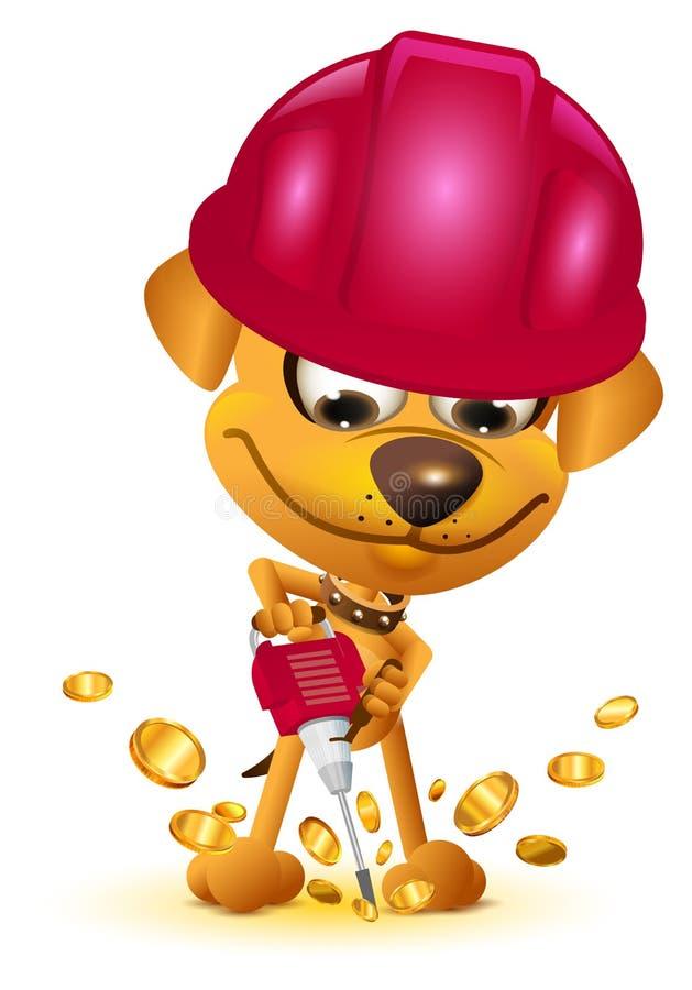 Moeda de ouro do bitcoin da mineração do mineiro do cão amarelo ilustração royalty free