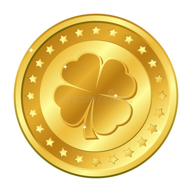 Moeda de ouro do trevo de quatro folhas com estrelas Dia do ` s de St Patrick irish shamrock afortunado Vetor ilustração royalty free