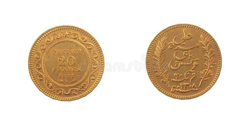Moeda de ouro do Tunisian de Tunísia foto de stock royalty free