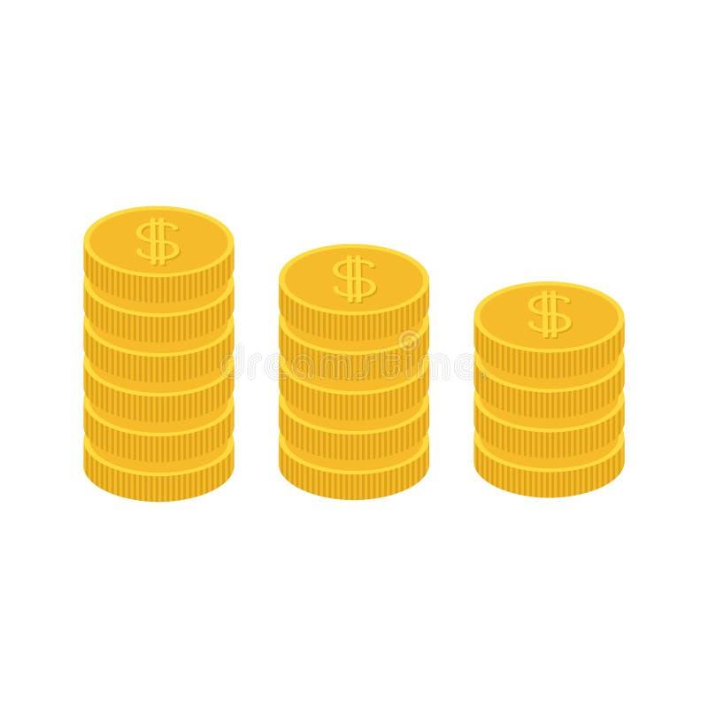 A moeda de ouro empilha o ícone na forma do diagrama Símbolo do sinal de dólar Desconte o dinheiro Conceito crescente do negócio  ilustração royalty free