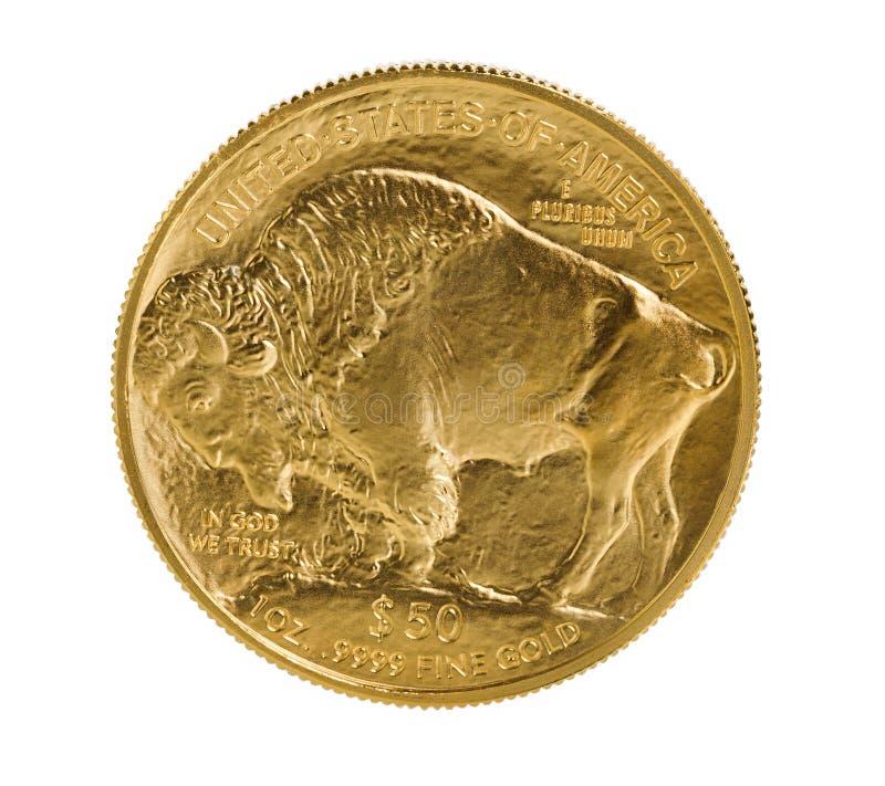Moeda de ouro fina do búfalo do ouro no fundo branco imagem de stock royalty free
