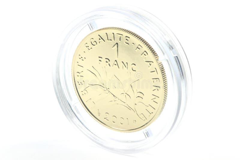 Moeda de ouro de 1 franco fotografia de stock