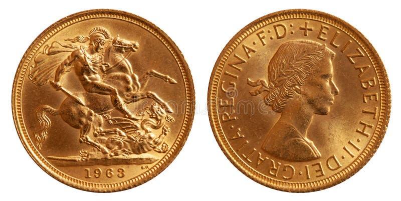 Moeda de ouro de Grâ Bretanha um a libra 1963 imagens de stock royalty free