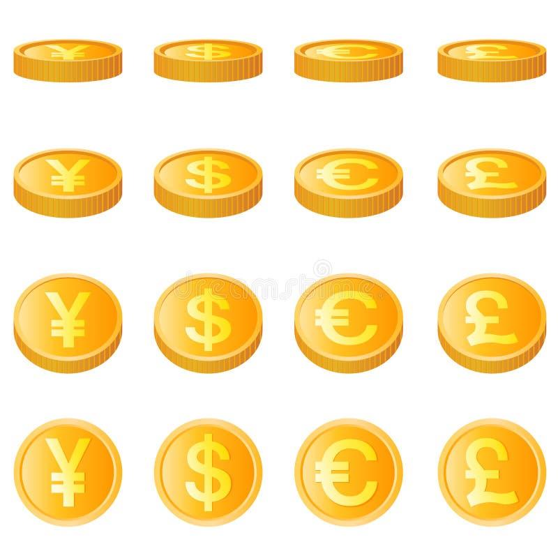 Moeda de ouro, vetor de unidade quatro monetária ilustração royalty free