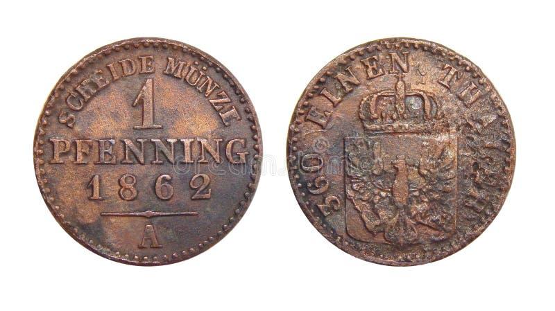 Moeda de Prússia de Alemanha 1 Pfennig 1862 fotos de stock
