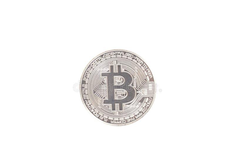 Moeda de prata do bitcoin isolada no branco foto de stock royalty free