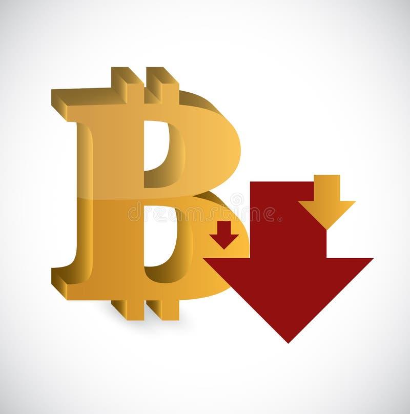 A moeda de queda do bitcoin fixa o preço da ilustração ilustração stock