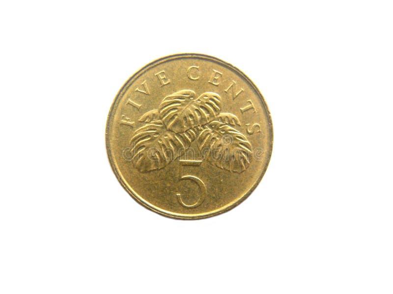 moeda de Singapura de 5 centavos fotos de stock