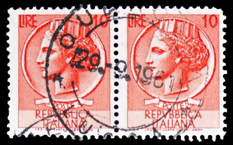 Moeda de Siracusa, 10 liras, serie, cerca de 1955 imagens de stock