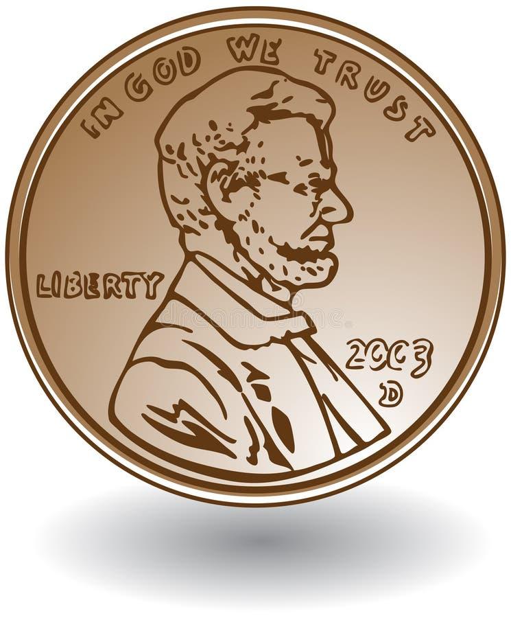 Moeda de um centavo ilustração stock