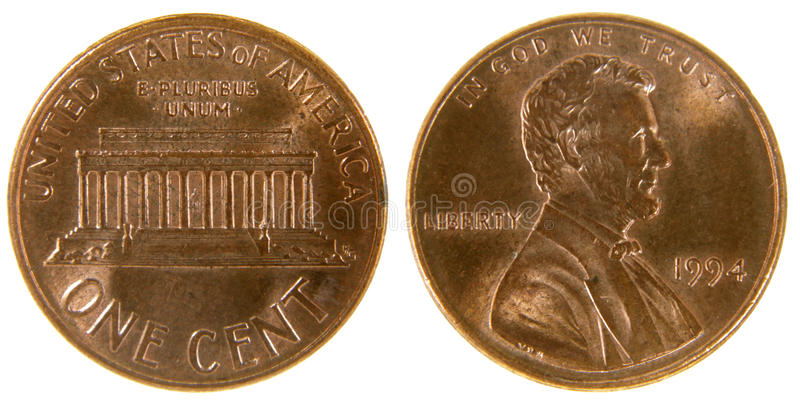 Moeda de um centavo americana foto de stock royalty free