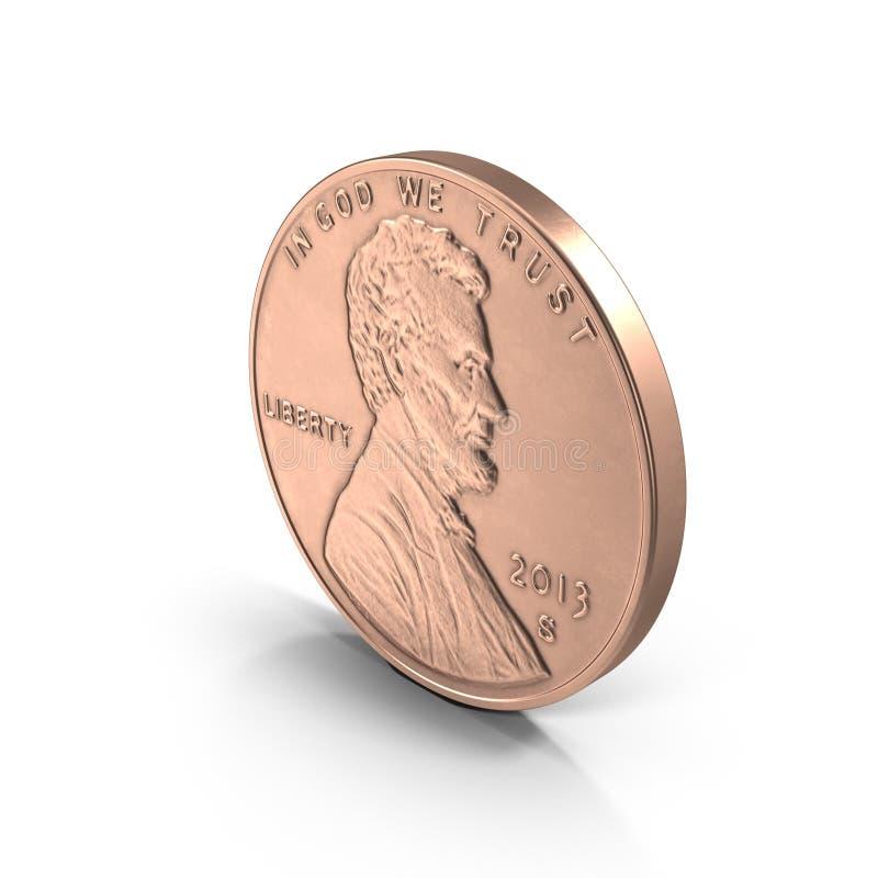 Moeda de um centavo de Lincoln no branco ilustração 3D ilustração stock