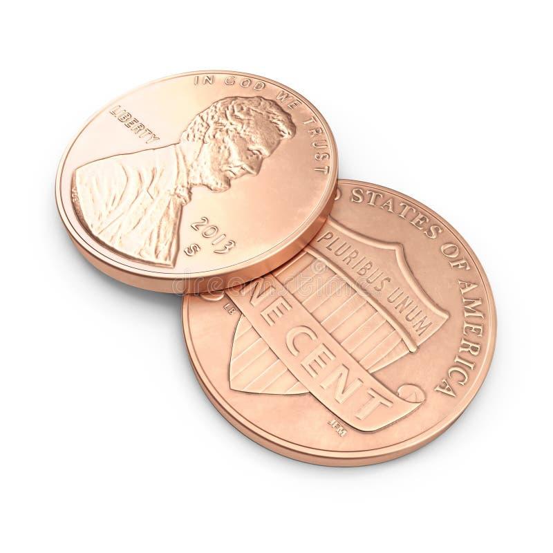Moeda de um centavo de Lincoln no branco ilustração 3D ilustração do vetor