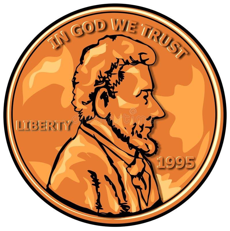 Moeda de um centavo dos E.U. ilustração royalty free