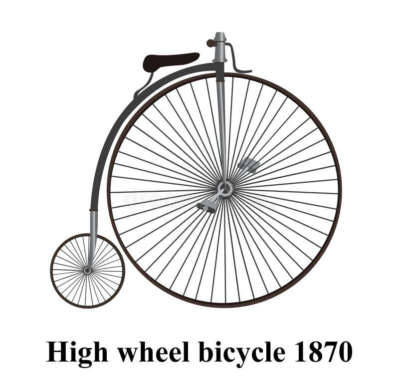 Moeda de um centavo-farthing ou bicicleta alta da roda isolado no backgrou branco ilustração do vetor