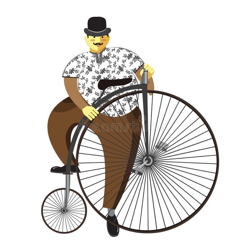 Moeda de um centavo-farthing ou homem alto do bicicleta da roda e o gordo isolado no whi ilustração stock