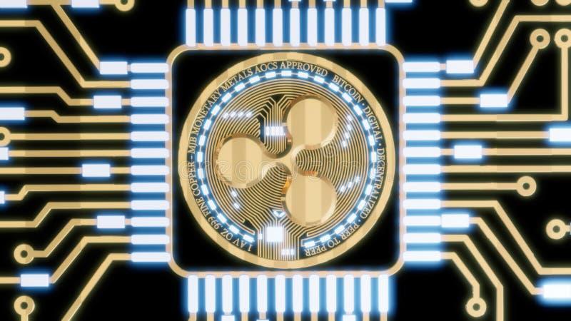 Moeda digital da ondinha dourada, dinheiro digital futurista, conceito mundial da rede da tecnologia ilustração royalty free