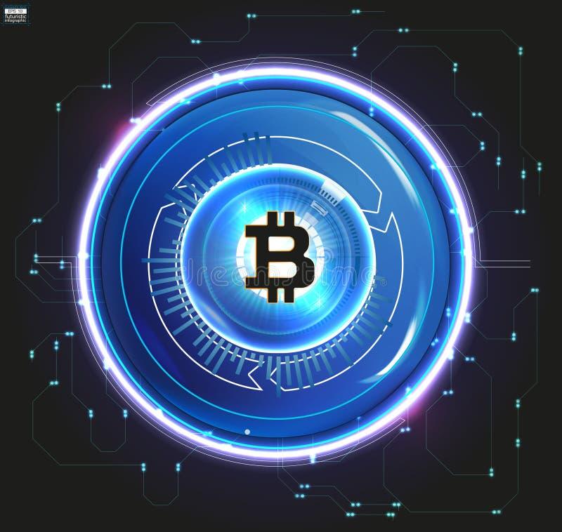 Moeda digital de Bitcoin, dinheiro digital futurista, conceito mundial da rede da tecnologia, estilo do hud ilustração do vetor