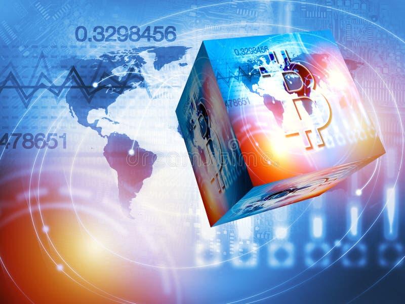 Moeda digital do sinal de Bitcoin, dinheiro digital futurista, conceito da tecnologia do blockchain ilustração stock