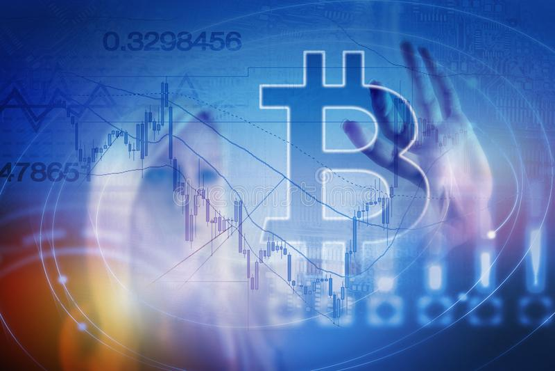 Moeda digital do sinal de Bitcoin, dinheiro digital futurista, conceito da tecnologia do blockchain imagens de stock royalty free