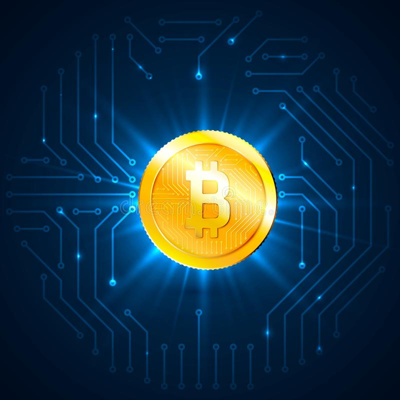 Moeda digital dourada de Bitcoin Cryptocurrency e conceito da mineração Rede e processo de dados Ilustração do vetor em vagabundo ilustração stock