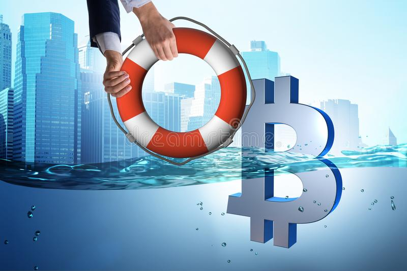 A moeda do bitcoin da economia do homem de negócios da inflação ilustração do vetor