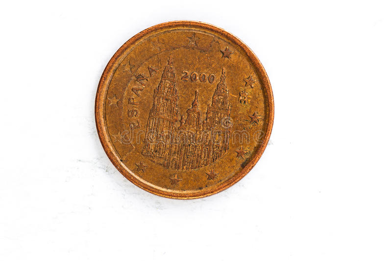 A moeda do centavo de Euro 5 com parte traseira da Espanha usou o olhar imagens de stock