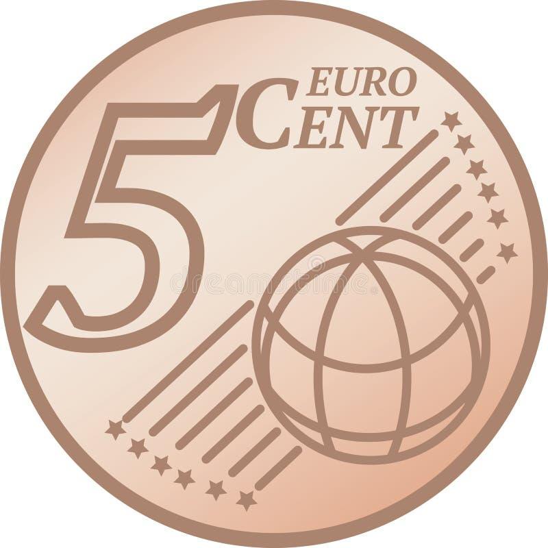Moeda do centavo do euro cinco ilustração stock