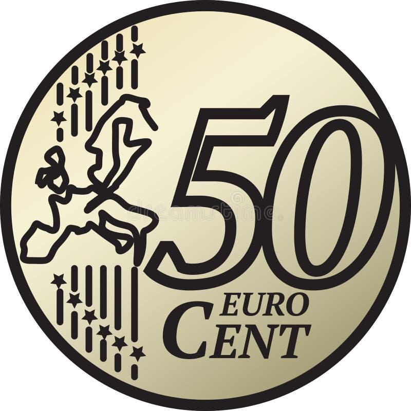 Moeda do centavo do euro cinqüênta ilustração stock