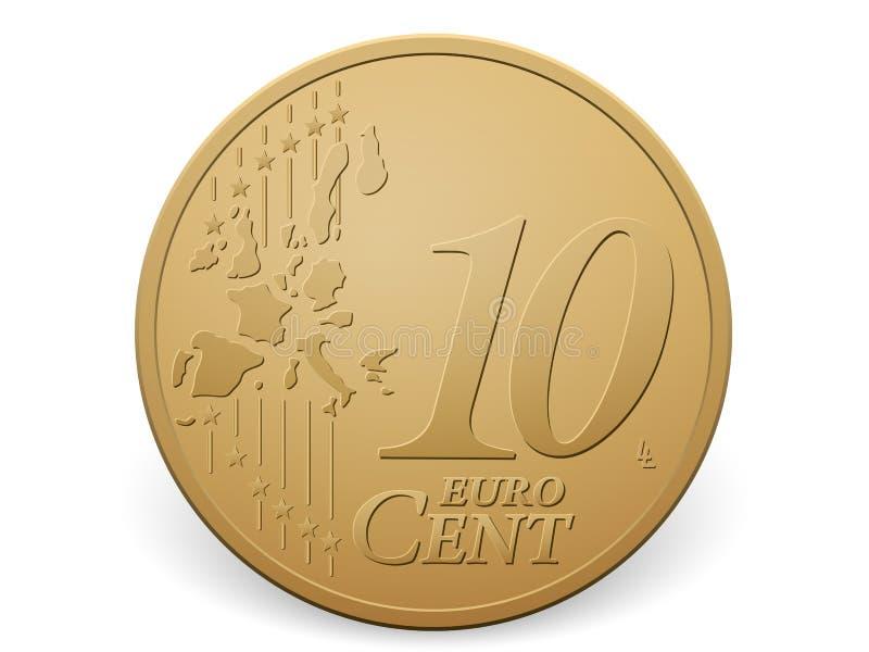 Moeda do centavo do euro dez ilustração stock