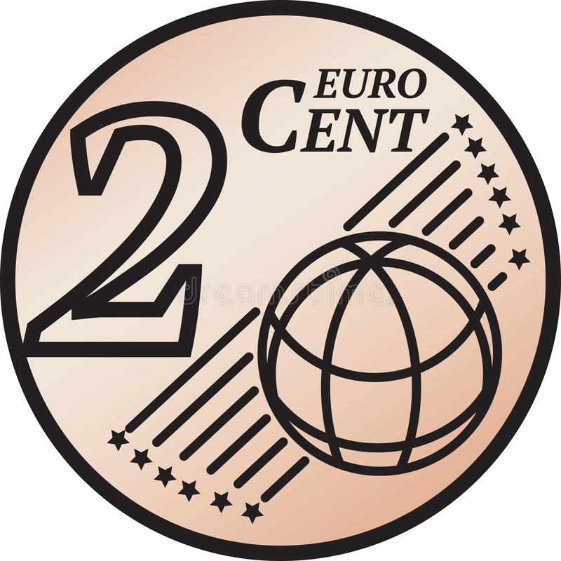 Moeda do centavo do euro dois ilustração do vetor