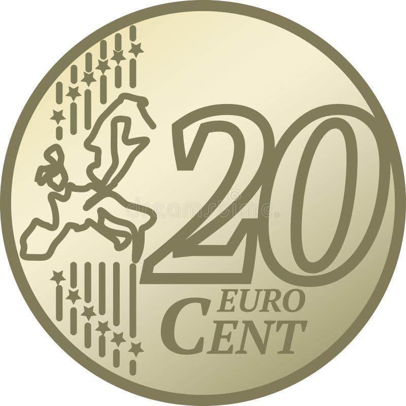 Moeda do centavo do euro vinte ilustração do vetor