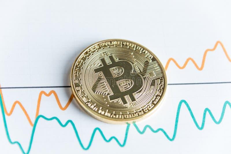Moeda do cryptocurrency do bitcoin do ouro em cravar gráfico linear que troca c imagem de stock