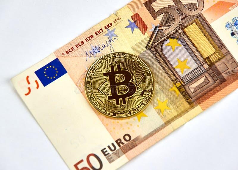 Moeda do cryptocurrency de Bitcoin imagens de stock royalty free