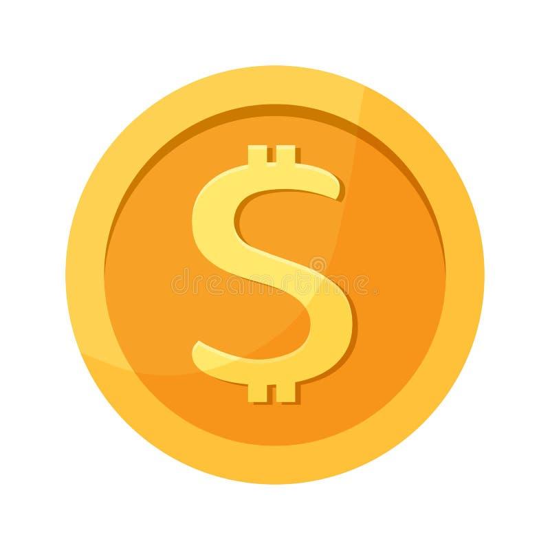 Moeda do dólar Ícone do dinheiro Ilustração do vetor ilustração royalty free