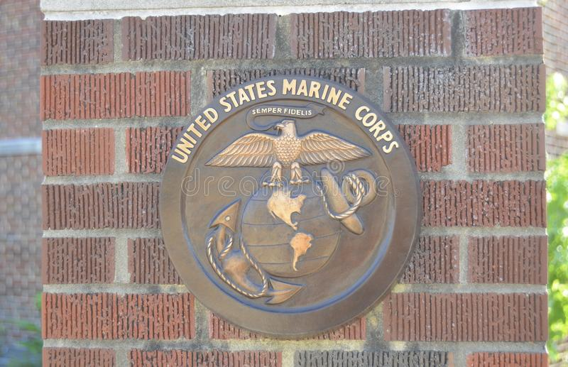 Moeda do desafio do USMC Eagle, do globo e da âncora imagem de stock royalty free