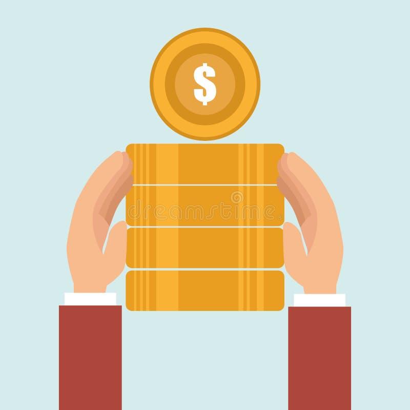 moeda do dinheiro da pilha da moeda ilustração royalty free