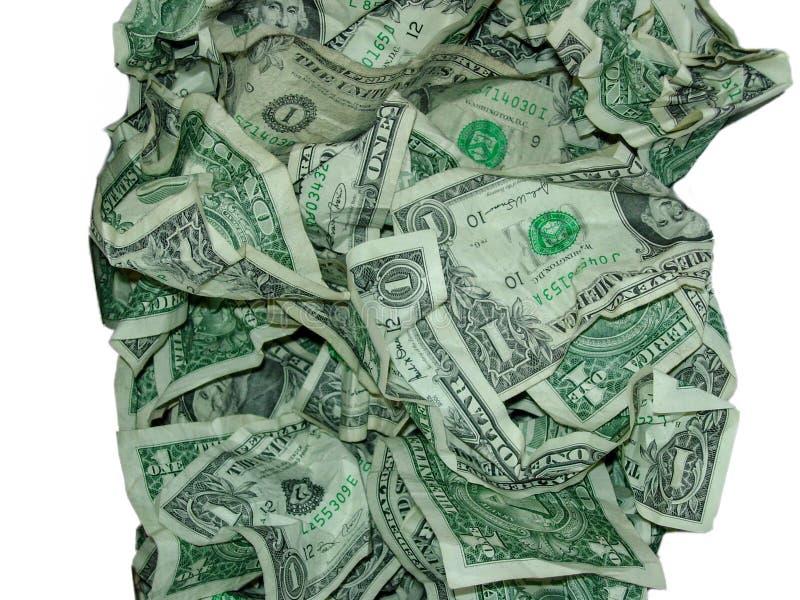 Moeda do dinheiro dos EUA amarrotada contra o fundo branco imagem de stock royalty free