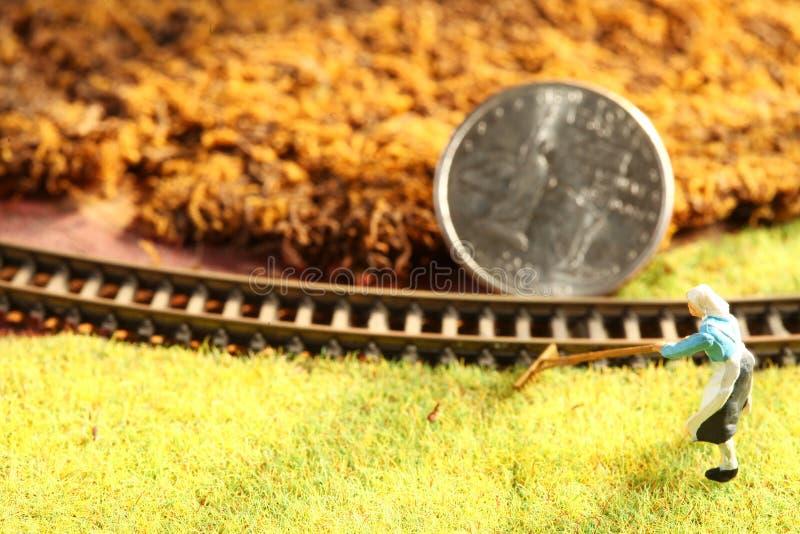 A moeda do dinheiro pôs sobre a cena modelo diminuta da estrada de ferro imagens de stock royalty free